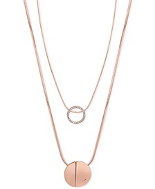 Rose Gold-Tone 2-Pc. Set Pavé Pendant Necklaces