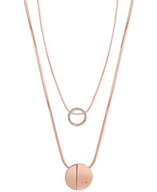 GUESS Rose Gold-Tone 2-Pc. Set Pavé Pendant Necklaces