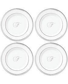 Federal Platinum Monogram Tidbit Plates, Set Of 4, Script Letters