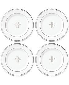 Federal Platinum Monogram Tidbit Plates, Set Of 4, Block Letters