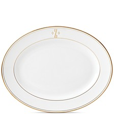 Federal Gold Monogram Oval Platter, Block Letters