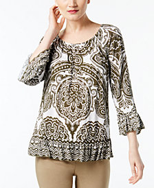 I.N.C. Printed Peasant Top, Created for Macy's