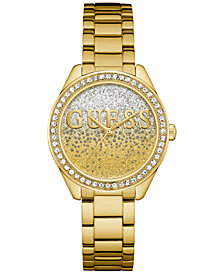 GUESS Women's Gold-Tone Stainless Steel Bracelet Watch 37mm