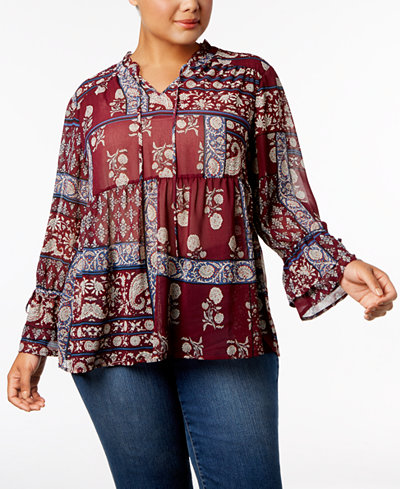 Style & Co Plus Size Floral-Print Blouse, Created for Macy's