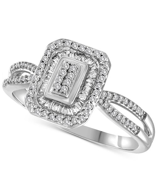 Macy's Diamond Halo Ring (1/4 ct. t.w.) set in 10k White, Yellow or Rose Gold.