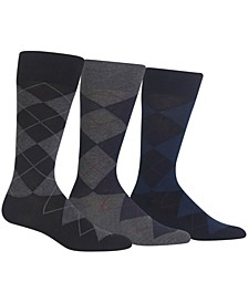 Men's Socks, Extended Size Argyle Dress Men's Socks 3-Pack