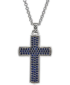 Sapphire Cross Pendant Necklace (2 ct. t.w.) in Sterling Silver, Created for Macy's