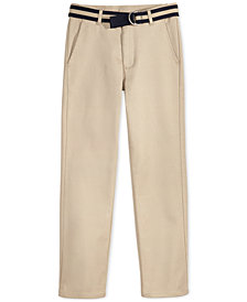 Nautica Flat-Front Belted Twill School Uniform Pants, Big Boys
