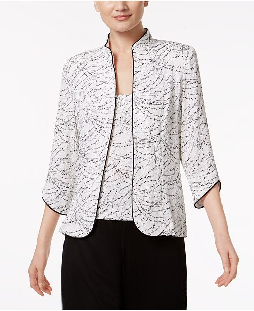 Alex Evenings Printed Jacket and Top Set