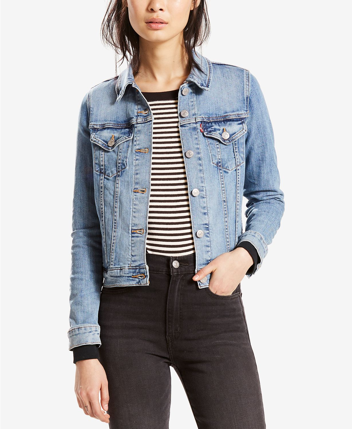 Come discover these Over 50 Fashion: Running Errands Comfy Cute Pieces! Levi's original trucker jacket for women is the perfect layering piece in every season! #fashionover50