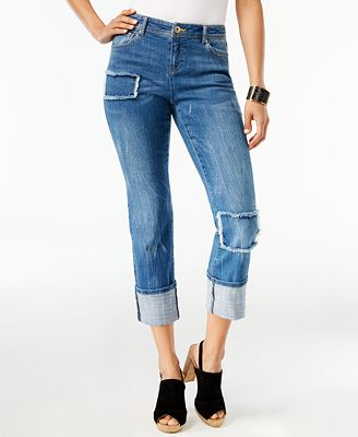 I.N.C. Patchwork Boyfriend Jeans, Created for Macy's