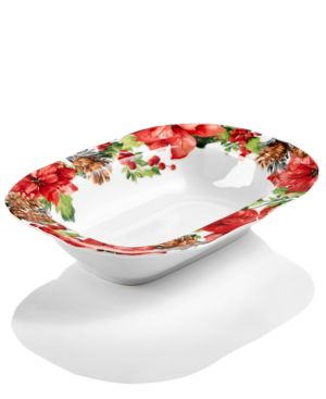 222 Fifth Winter Poinsettia Dinnerware Collection Oval Serving Bowl 4758337