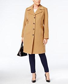 Anne Klein Plus Size Wool Blend Walker Coat