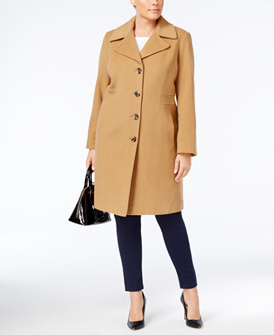 Anne Klein Plus Size Wool-Cashmere-Blend Walker Coat - Coats ...