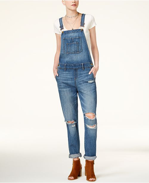 American Rag Juniors' Strappy-Back T-Shirt & Ripped Overalls, Created for Macy's