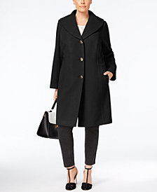 Anne Klein Plus Size Wool-Cashmere Blend Coat with Shawl Collar