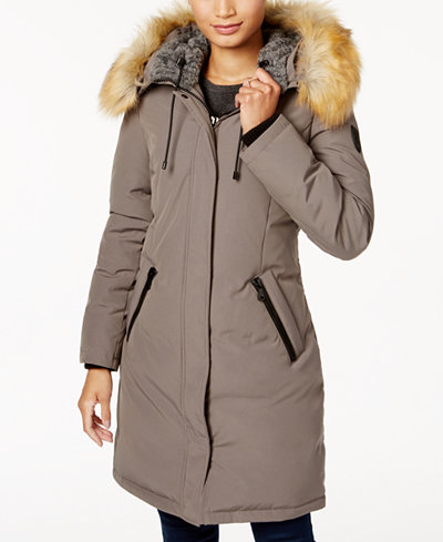 Vince Camuto Faux Fur Trim Hooded Down Parka Coats