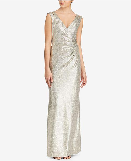 Lauren Ralph Lauren V-Neck Jersey Gown