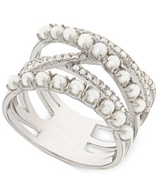 Cultured Freshwater Pearl (2mm) & Diamond (1/4 ct. t.w.) Crisscross Ring in Sterling Silver