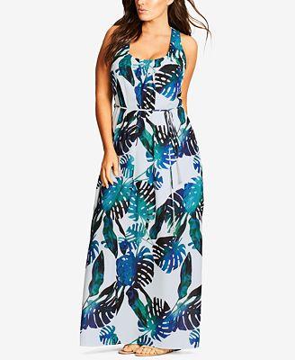 City Chic Trendy Plus Size Palm-Print Maxi Dress - Dresses - Plus ...