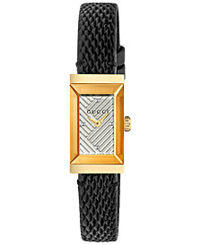 Gucci Women's Swiss G-Frame Black Lizard Leather Strap Watch 14x25mm