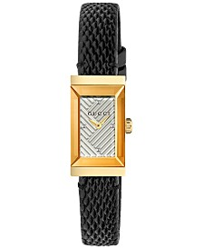 Gucci Women's Swiss G-Frame Black Lizard Leather Strap Watch 14x25mm