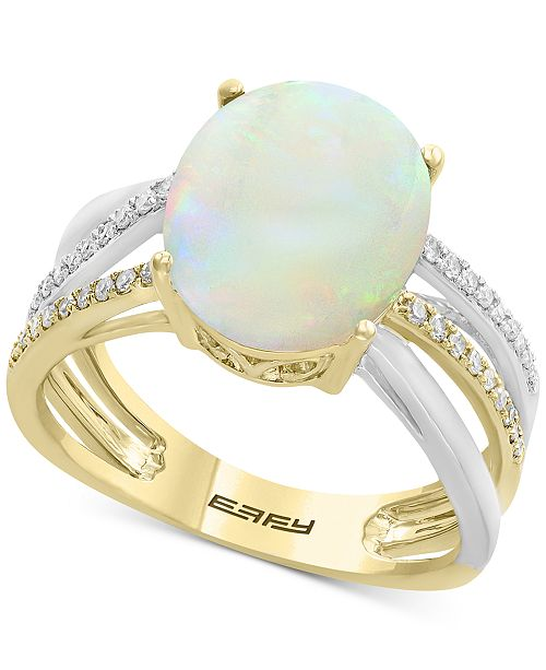EFFY Collection EFFY® Opal (2-1/2 ct. t.w.) & Diamond (1/8 ct. t.w.) Two-Tone Ring in 14k Gold & White Gold