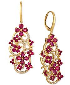 Certified Passion Ruby™ (5 ct. t.w.) & Diamond (1/2 ct. t.w.) Drop Earrings in 14k Gold