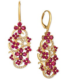 Le Vian Certified Passion Ruby™ (5 ct. t.w.) & Diamond (1/2 ct. t.w.) Drop Earrings in 14k Gold