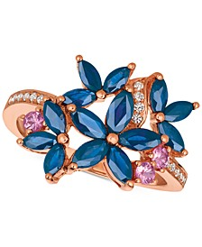 Multi-Sapphire (1-9/10 ct. t.w.) & Diamond (1/10 ct. t.w.) Ring in 14k Rose Gold