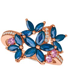 Le Vian® Multi-Sapphire (1-9/10 ct. t.w.) & Diamond (1/10 ct. t.w.) Ring in 14k Rose Gold