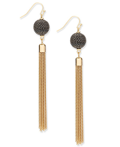 I.N.C. Gold-Tone Pavé Ball & Tassel Drop Earrings, Created for Macy's