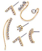 INC International Concepts Gold-Tone 6-Pc. Set Crystal Mismatch Earrings, Created for Macy's