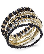 INC International Concepts Gold-Tone 5-Pc. Set Beaded Stretch Bracelets, Created for Macy's