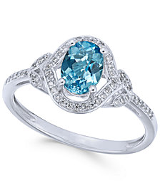 Blue Topaz (9/10 ct. t.w.) & Diamond (1/8 ct. t.w.) Ring in 14k White Gold (Also available in Opal, Amethyst & Citrine)