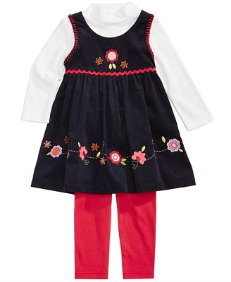 Blueberi Boulevard 3-Pc. Top, Floral Corduroy Jumper & Leggings Set, Baby Girls