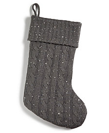 Holiday Lane Gray Knit Stocking With Sequins, Created for Macy's