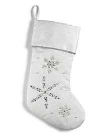 Holiday Lane White & Silver Embroidered & Sequinned Snowflake Stocking, Created for Macy's