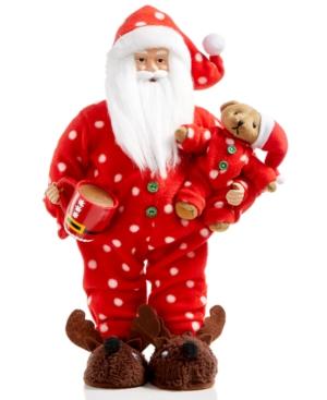 Holiday Lane 18 Red Bedtime Santa Figurine Holding Teddy Bear Created for Macys