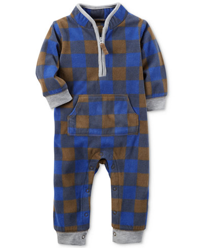 Carter's 1-Pc. Plaid Fleece Coverall, Baby Boys