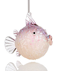Holiday Lane Glass Puffer Fish Ornament, Created for Macy's