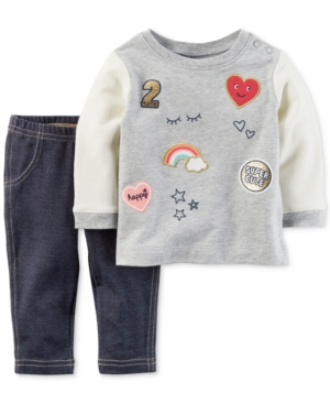 Carters 2Pc Patches Top  Jeggings Set Baby Girls (024 months)