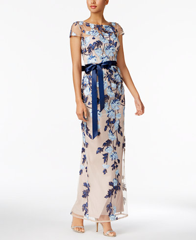 DEZZAL Women's Floral Embroidered Tulle Prom Maxi Dress with Cami Dress (S,  Blue)