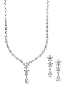 Nina Silver-Tone Cubic Zirconia Floral Y-Necklace and Matching Drop Earrings