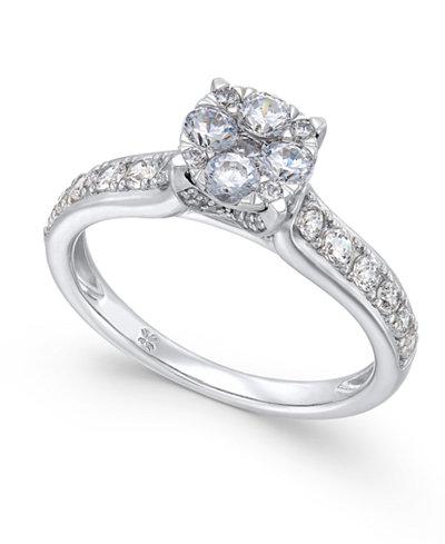 diamond composite engagement ring 1 ct tw in 14k white gold macys - Macys Wedding Rings