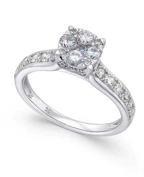 Macy S Diamond Composite Engagement Ring 1 Ct T W In 14k White Gold Reviews Rings Jewelry Watches Macy S