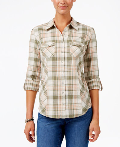 Style & Co Plaid Roll-Tab-Sleeve Cotton Shirt, Created for Macy's