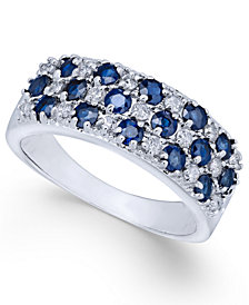 Sapphire (1-5/8 ct. t.w.) & Diamond (1/3 ct. t.w.) Ring in 14k White Gold