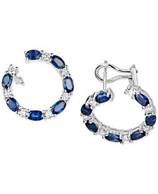 Sapphire (4-5/8 ct. t.w.) & Diamond (1 ct. t.w.) Circular Drop Earrings in 14k White Gold