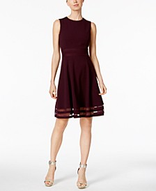 Illusion-Trim Fit & Flare Dress, Regular & Petite